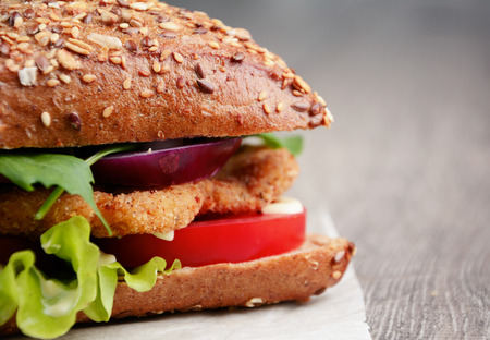 Homemade tasty sandwich with meat and vegetables photo