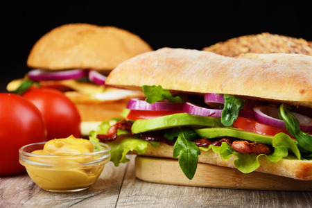 steak sandwich: Homemade tasty sandwich with meat and vegetables