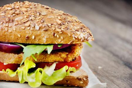 chicken burger: Homemade tasty sandwich with meat and vegetables
