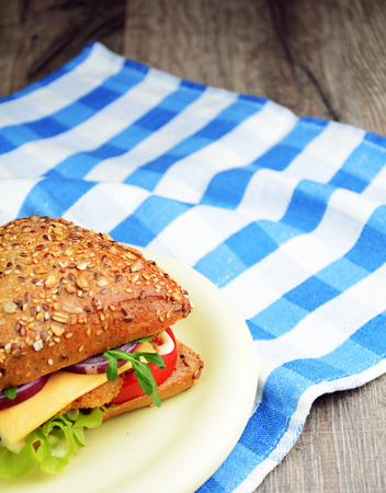 Homemade tasty sandwich with meat and vegetables