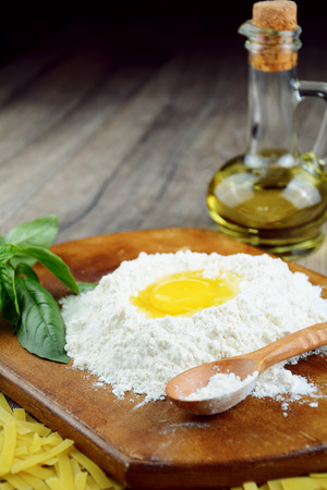 Preparing pasta on the wooden table Stock Photo