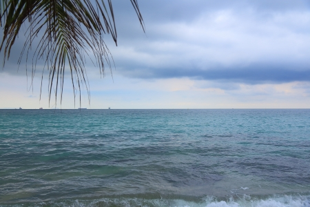 The sea when cloudy before rain.  photo