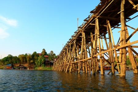Close up of the longest bridge at Songkalia river, Thailand, Ant view. photo