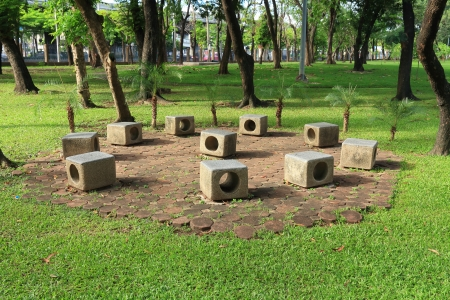 disuse: In a Circle Stone Garden Bench.