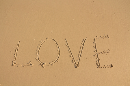 The Inscription on the Sand near the Sea - LOVE  photo