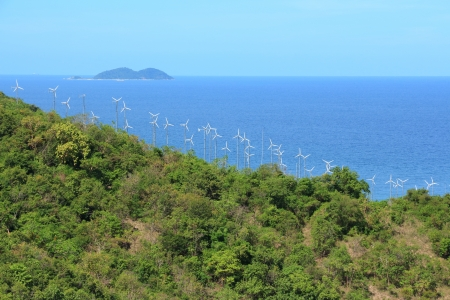 Windmills near Sea, Koh Larn Pattaya thailand  photo