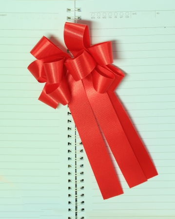 ribbin: Red Ribbon on Blank White  Realistic Spiral Notepad Notebook