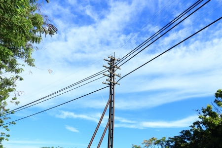 Energy and Technology, Electrical Post using Steel Railway with Power Line Cables  photo