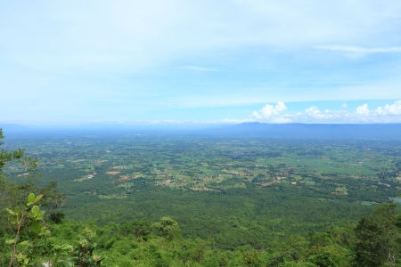 View of the Fields and Mountains of Thailand from Top of the Mountain  photo