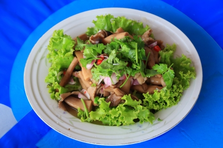 Yum Hed Con, Thai Forrest Mushroom and Mix Vegetables Spicy Salad, Termitomyces Fuliginosus Heim  photo