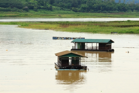 Floating House at Kanchanaburi in Thailand  photo