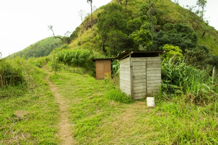 bad banana: Rustic Old Wooden Toilet in the Forest