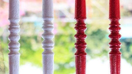 balustrade: Red and White Balustrade  Stock Photo