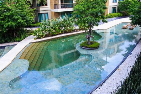 Residential Inground Swimming Pool in Backyard Stock fotó - 29124366