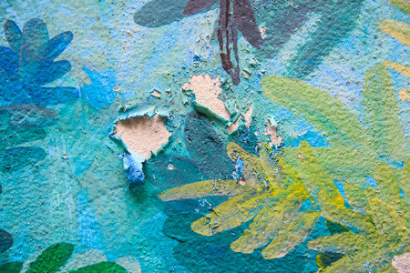 Cracked Color on Cement Wall  photo