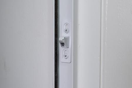 Slide door lock close up. photo