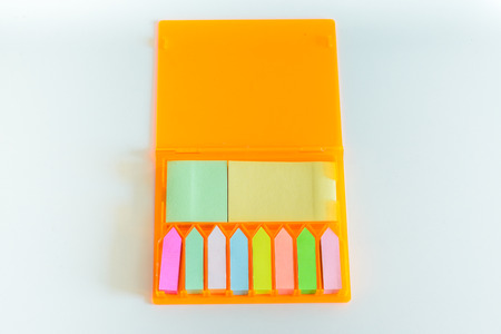 Collection of colorful paper notes. photo