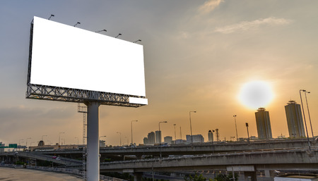 Blank billboard at twilight for advertisement. Stock Photo