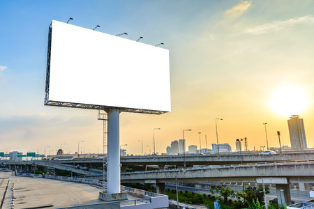 'advertising space': Blank billboard at twilight for advertisement. Stock Photo