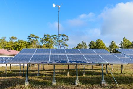 solarpanel: Solar cells and  wind turbine.