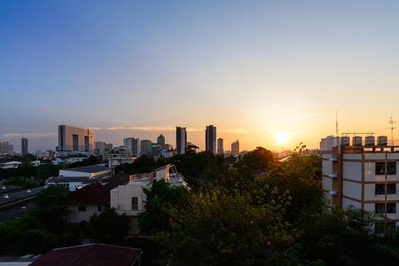 urban background: Bangkok cityscape at sunset.