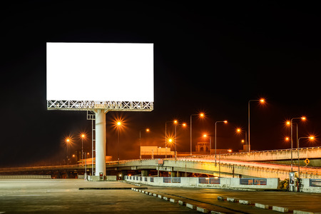 advertising board: Blank billboard at night for advertisement.