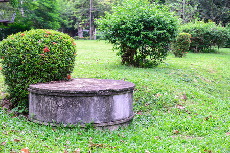 septic: Cement septic tank for waste water.