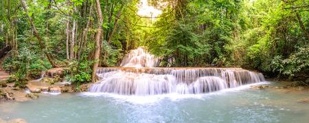 huay: Panoramic view of Huay Mae Kamin Waterfall in Kanchanaburi, Thailand. Stock Photo