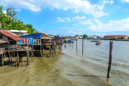 riverfront: Thai traditional house, vilage riverfront in Bangkok thailand.