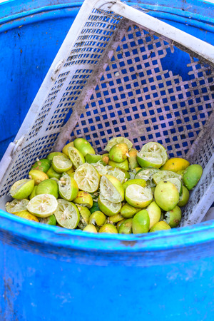 Discarded lemon peel in blue trashcan. Stock Photo