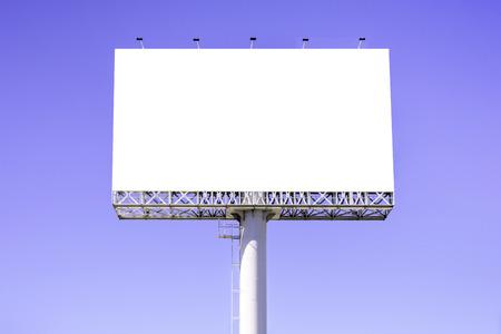 billboard background: Blank billboard against blue sky for advertisement.
