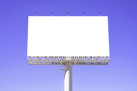 text space: Blank billboard against blue sky for advertisement.