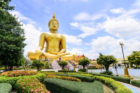 ang thong: Biggest Buddha statue in Thailand at Wat Muang, Ang Thong Province, Thailand. Stock Photo