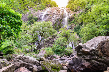 spring landscape: Khlong Lan waterfall in national park, Kamphaeng Phet Thailand.