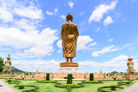 patronage: Phra Buddha Metta Pracha Thai Trai Lokanat Gandhara Anusorn memorial statue, Under The Royal Patronage of Her Majesty The Queen, Kanchanaburi Thailand. Stock Photo