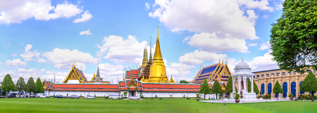 Panoramic view of Wat Phra Kaew, Public temple in Bangkok, Thailand.