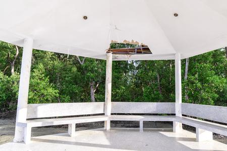 moulder: Wayside pavilion roof broken, natural disaster. Stock Photo