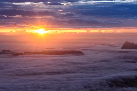 Morning mist with mountain at sunrise in Phu Kradueng national park ,Loei Thailand. Stock fotó - 46702953