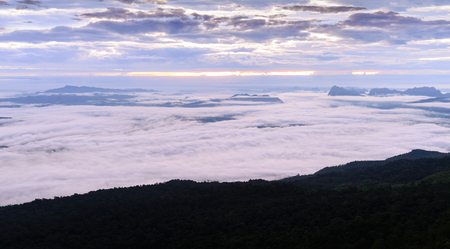 kradueng: Morning mist with mountain at sunrise in Phu Kradueng national park ,Loei Thailand.