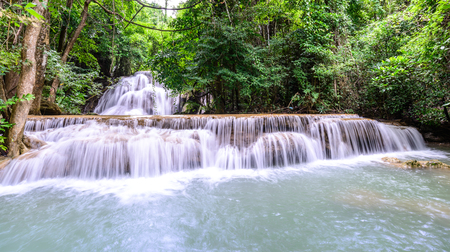 kamin: Panoramic view of Huay Mae Kamin Waterfall in Kanchanaburi, Thailand. Stock Photo