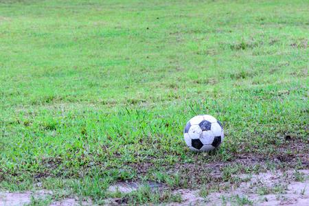 slushy: Dirty soccer ball in wet field.