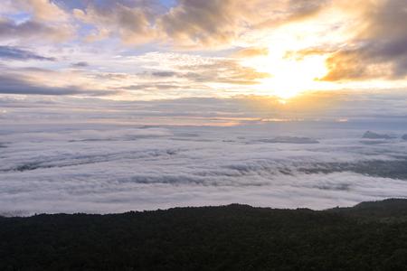 kradueng: Morning mist with mountain in Phu Kradueng national park ,Loei Thailand.