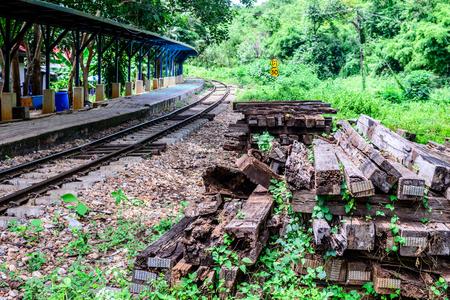 wood railroad: Unused wooden railway sleepers near railroad. Stock Photo
