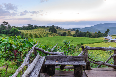 bong: Wooden balcony for scenic of terraced rice field at Ban Pa Bong Piang, Mae Jam in Chiang Mai, Thailand. Stock Photo
