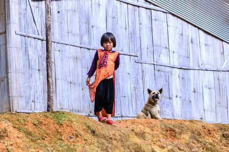 bamboo house: CHIANG MAI, THAILAND - 2015 November 04: Unidentify Lisu girl standing with her dog near old bamboo house, Lisu tribes live in northern of Thailand.