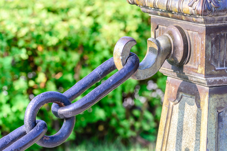 holdfast: Metal chain with hook. Stock Photo