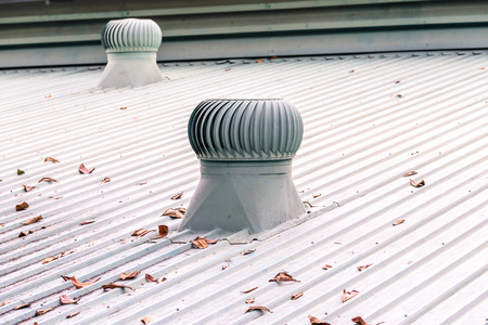 roofing: Ventilation system on the roof of factory.