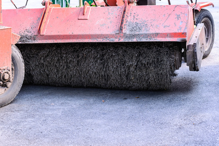 sweeper: Road brush sweeper machine. Stock Photo