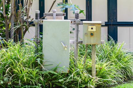 control box: Outdoor electrical control box.