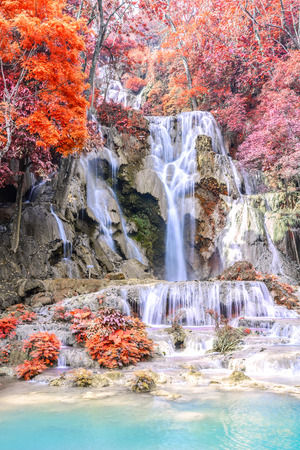 tat: Rainforest waterfall, Tat Kuang Si Waterfall at Luang Prabang, Loas. Stock Photo